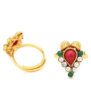 SUKKHI | Sukkhi Classic Gold Plated Austrian Diamond Stone Studded Toe ring