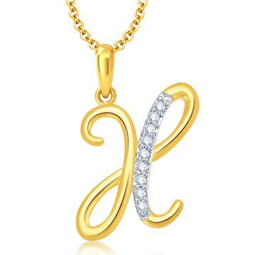 "SUKKHI | Sukkhi Letter ""X"" Gold And Rhodium Plated Cz Alphabet Pendant"
