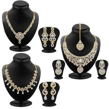 SUKKHI | Sukkhi Glamorous Gold Plated Ad Necklace Sets Combo For Women