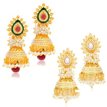 SUKKHI | Sukkhi Gorgeous Gold Plated Set of 2 Pair Pearl Jhumki Earring Combo for Women