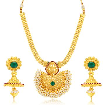 SUKKHI | Sukkhi Traditional Pearl Gold Plated Temple Necklace Set For Women