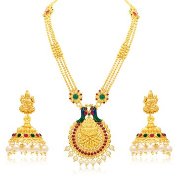 SUKKHI | Sukkhi Designer Pearl Gold Plated Laxmi Peacock Meenakari Long Haram Necklace Set For Women