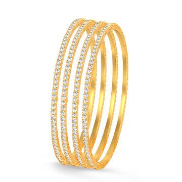SUKKHI | Sukkhi Classy Gold Plated  Set of 4 Austrian Diamond Bangles for Women