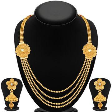 SUKKHI   Sukkhi Floral Gold Plated Kundan Multi-String Necklace Set For Women