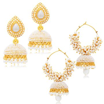 SUKKHI | Sukkhi Delicate Gold Plated Set of 2 Pearl Jhumki Earring Combo For Women