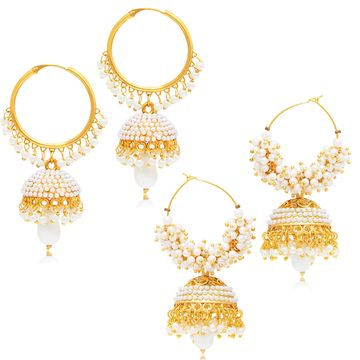 SUKKHI | Sukkhi Divine Gold Plated Set of 2 Pearl Jhumki Earring Combo For Women