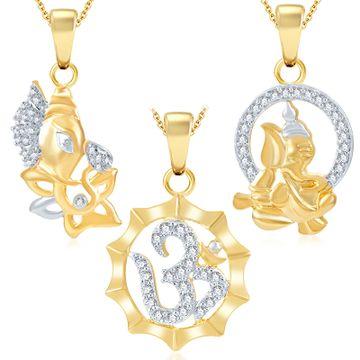 SUKKHI | Sukkhi Ravishing Ganesha Gold Plated Set Of 3 God Pendant With Chain Combo