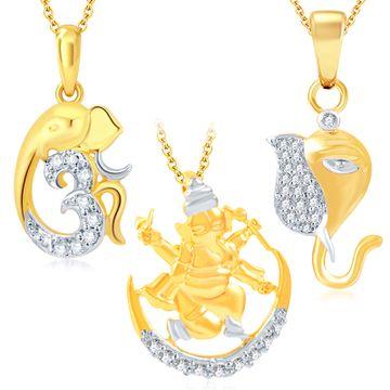 SUKKHI | Sukkhi Fine Ganesha Gold Plated Set Of 3 God Pendant With Chain Combo