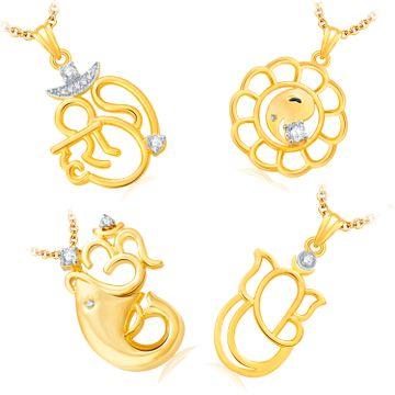 SUKKHI | Sukkhi Pretty Ganesha Gold Plated Set Of 4 God Pendant With Chain Combo