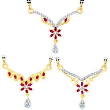 SUKKHI | Sukkhi Stylish Gold Plated Cz Set Of 3 Mangalsutra Combo For Women