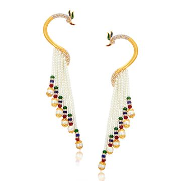 SUKKHI | Sukkhi Designer Pearl Gold Plated Peacock Meenakari Ear Cuff For Women