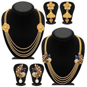 SUKKHI   Sukkhi Blossomy Pearl Gold Plated Kundan Peacock Meenakari Multi-String Necklace Set Combo For Women
