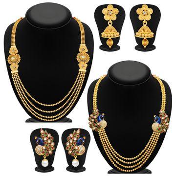 SUKKHI | Sukkhi Pretty Pearl Gold Plated Kundan Peacock Meenakari Multi-String Necklace Set Combo For Women