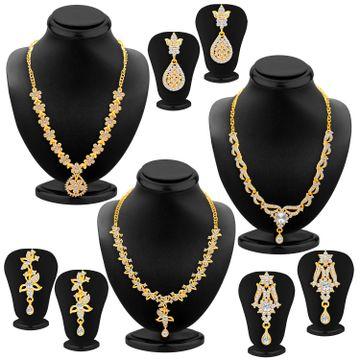 SUKKHI | Sukkhi Glitzy Gold Plated Austrian Diamond Necklace Set Combo For Women