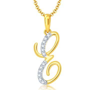 "SUKKHI | Sukkhi Letter ""E"" Gold And Rhodium Plated Cz Alphabet Pendant"