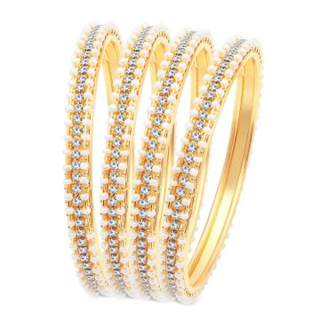 SUKKHI | Sukkhi Fascinating Pearl Gold Plated Austrian Diamond Bangles Set of 4 for Women