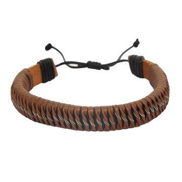 SUKKHI | Sukkhi Adjustable Striped Brown Leather Bracelet For Men