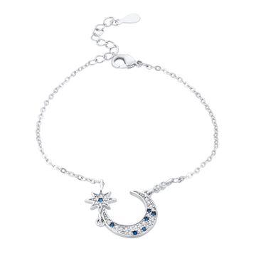 SUKKHI | Sukkhi Lavish Adjustable Blue Crystal Rhodium Plated Bracelet for Women