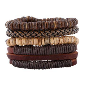 SUKKHI | Sukkhi Intricately Adjustable Brown Leather Bracelet for Men