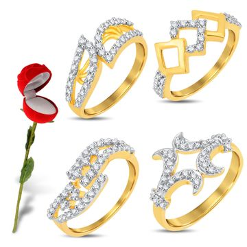 SUKKHI | Sukkhi Valentine Collection Stylish Gold & Rhodium Plated Cz Combo With Rose Box For Women Pack Of 4