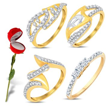 SUKKHI | Sukkhi Valentine Collection Astonish Gold & Rhodium Plated Cz Combo With Rose Box For Women Pack Of 4