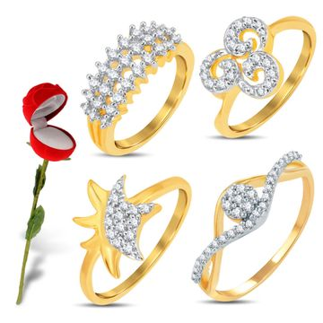 SUKKHI | Sukkhi Valentine Collection Marvellous Gold & Rhodium Plated Cz Combo With Rose Box For Women Pack Of 4