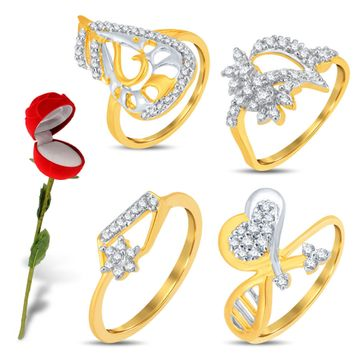 SUKKHI | Sukkhi Valentine Collection Glimmery Gold & Rhodium Plated Cz Combo With Rose Box For Women Pack Of 4