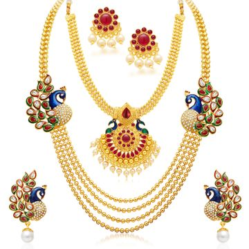 SUKKHI | Sukkhi Amazing Pearl Gold Plated Kundan Peacock Meenakari Multi-String Necklace Set Combo For Women