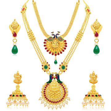 SUKKHI | Sukkhi Ethnic Pearl Gold Plated Peacock Meenakari Long Haram Necklace Set Combo For Women