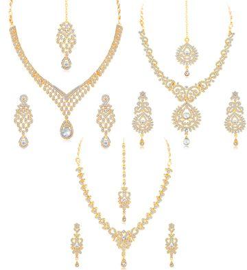 SUKKHI | Sukkhi Stylish Gold Plated Austrian Diamond Choker Necklace Set Combo For Women