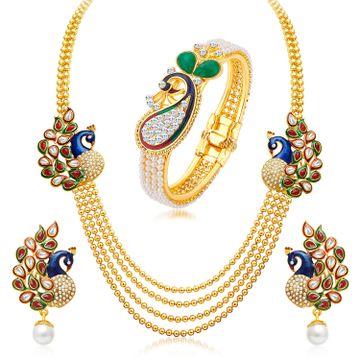 SUKKHI | Sukkhi Incredible Pearl Gold Plated Peacock Kundan Meenakari Multi-String Necklace + Kada Combo For Women