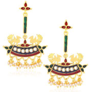SUKKHI   Sukkhi Designer Gold Plated Pearl Meenakari Chandelier Earrings For Women