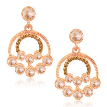 SUKKHI   Sukkhi Graceful Rose Gold Plated LCT Stone Dangle Earrings For Woman