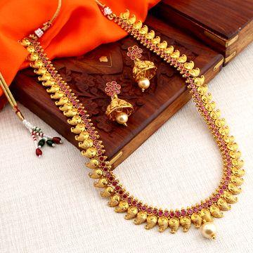 SUKKHI | Sukkhi Modish Gold Plated Paisley Long Haram Necklace Set For Women
