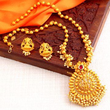 SUKKHI | Sukkhi Classic Laxmi Gold Plated Temple Jewellery Pearl Long Haram Necklace Set For Women