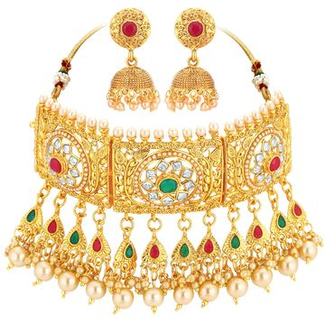 SUKKHI | Sukkhi Classy Bollywood Inspired Pearl Gold Plated Choker Necklace Set For Women
