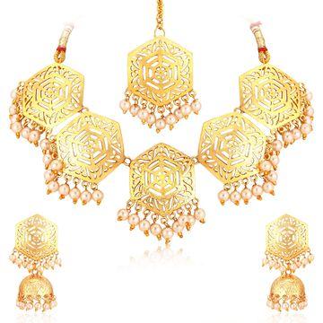 SUKKHI   Sukkhi Hexagon Designer Gold Plated Pearl Choker Necklace Set For Women