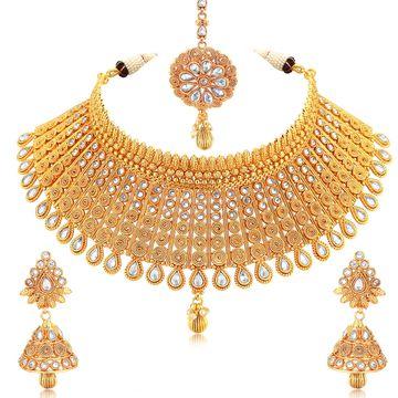 SUKKHI   Sukkhi Exclusive Gold Plated Kundan Choker Necklace Set For Women