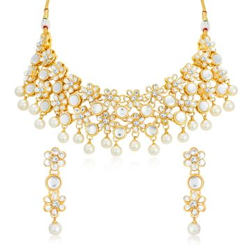 SUKKHI | Sukkhi Traditional Kundan Gold Plated Pearl Choker Necklace Set for Women