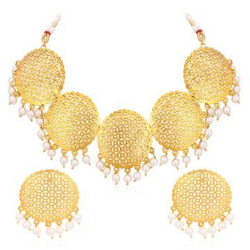 SUKKHI | Sukkhi Classic Gold Plated Pearl Choker Necklace Set For Women