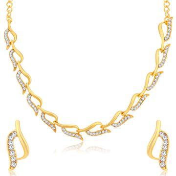 SUKKHI | Sukkhi Glitzy Gold Plated Austrian Diamond Necklace Set for Women