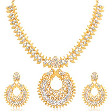 SUKKHI | Sukkhi Ethnic Gold Plated Austrian Diamond Peacock Necklace Set for Women