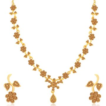 SUKKHI | Sukkhi Floral Gold Plated LCT Stone Necklace Set for Women