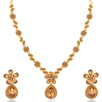 SUKKHI | Sukkhi Blossomy Gold Plated LCT Stone Floral Necklace Set for Women