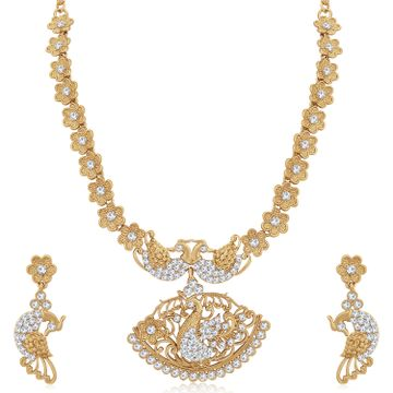 SUKKHI | Sukkhi Amazing Mehandi Gold Plated Austrian Diamond Peacock Necklace Set for Women