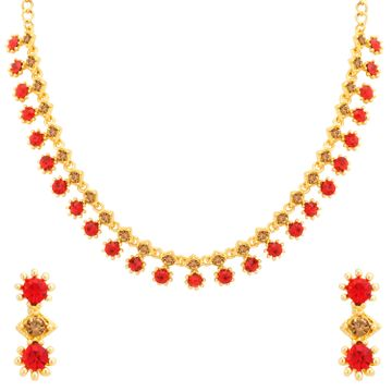 SUKKHI | Sukkhi Precious Gold Plated LCT and Red Stone Necklace Set for Women
