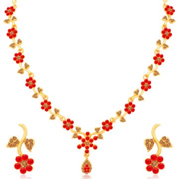 SUKKHI | Sukkhi Incredible Gold Plated LCT and Red Stone Floral Necklace Set for Women