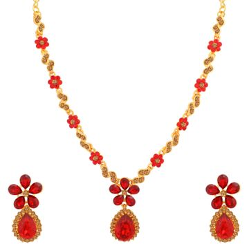 SUKKHI | Sukkhi Classy Gold Plated LCT and Red Stone Floral Necklace Set for Women