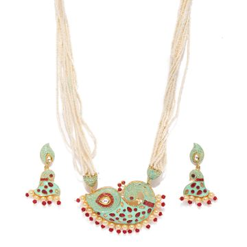 SUKKHI | Sukkhi Glistening Mint Collection Pearl Gold Plated Neckalce Set for Women