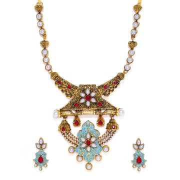 SUKKHI | Sukkhi Incredible Gold Plated Pearl Mint Collection Collar Necklace Set for Women